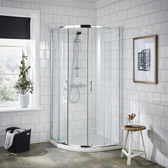 UK Bathrooms Essentials Quadrant Sliding Shower Door