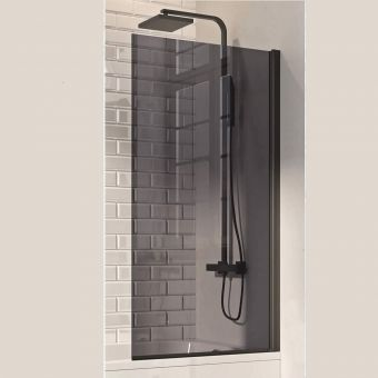 UK Bathrooms Essentials Black Square Edge Bath Screen