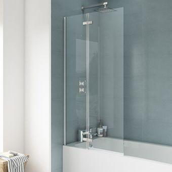 UK Bathrooms Essentials Straight Hinged Bath Screen