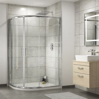 UK Bathrooms Essentials Offset Quadrant Shower Enclosure