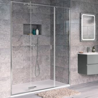 Crosswater Svelte 8 Hinged Inline Shower Door for Recess 1400mm