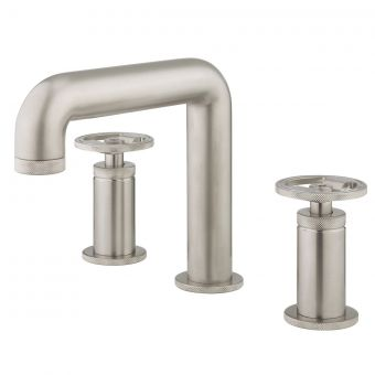 Crosswater Union Brushed Nickel 3 Hole Basin Tap with Wheel Handle