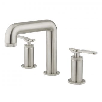 Crosswater Union Brushed Nickel 3 Hole Basin Tap with Lever Handle - UB135DNL_LV