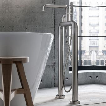 Crosswater Union Brushed Nickel Standing Lever Handle Bath Shower Mixer Tap - UB422DL_LV+