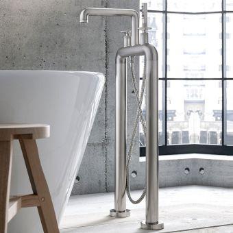 Crosswater Union Brushed Nickel Standing Wheel Handle Bath Shower Mixer Tap - UB422DL+