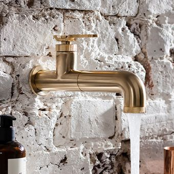 Crosswater Union Brushed Brass Wall Basin Tap with Lever Handle