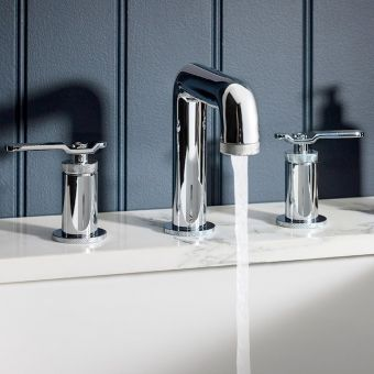 Crosswater Union Chrome 3 Hole Basin Tap with Lever Handle