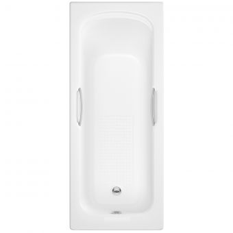 UK Bathrooms Essentials Violet Single Ended Bath with Twin Grips and Antislip - UKBESB00015