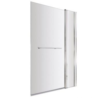 UK Bathrooms Essentials Square Bath Screen with Fixed Panel and Towel Rail