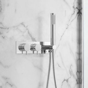 Crosswater MPRO Chrome 2 Outlet Shower Valve with Handset - PRO1701RC+