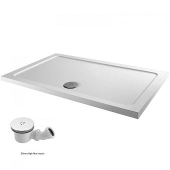 UK Bathrooms Essentials Rectangular Shower Tray Pack inc. Chrome Waste