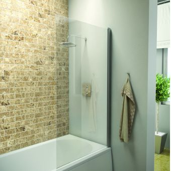 UK Bathrooms Essentials Straight Hinged Bath Screen