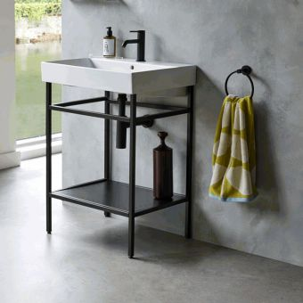 Britton Frame Black Washstand with Shoreditch Basin