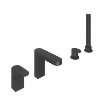 Abacus Ki Matt Black Deck Mounted Bath Shower 4TH - TBTS-055-3204