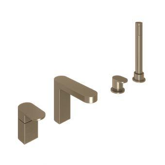 Abacus Ki Brushed Nickel Deck Mounted Bath Shower 4TH - TBTS-057-3204