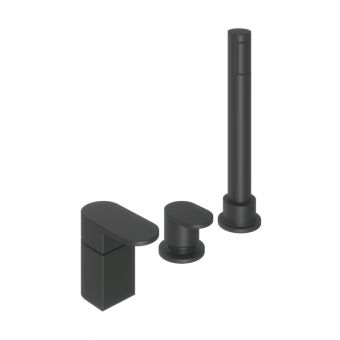 Abacus Ki Matt Black Deck Mounted Bath Shower 3TH