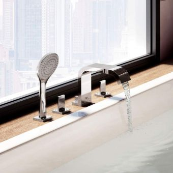 Roca Flat 4 Hole Bath Mixer Tap with Shower Handset