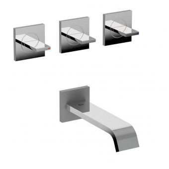 Roca Flat Wall Mounted Bath Mixer Tap with 2 Outlets