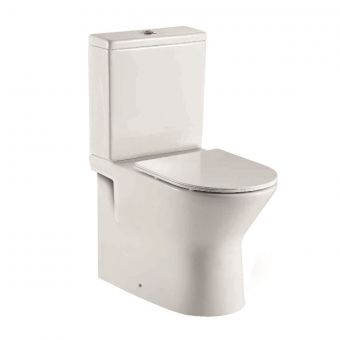 UK Bathrooms Essentials Caxton Rimless Back to Wall Close Coupled Toilet Suite - UKBESA0020
