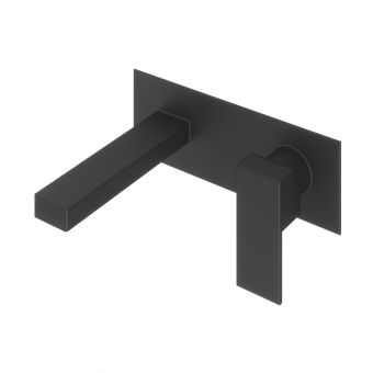 Abacus Plan Matt Black Wall Mounted Basin Mixer Tap