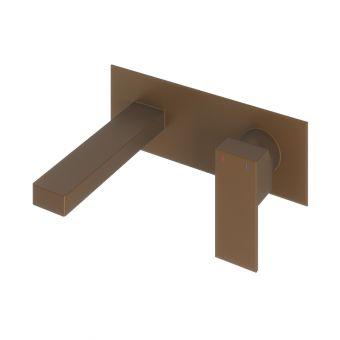 Abacus Plan Brushed Bronze Wall Mounted Basin Mixer Tap