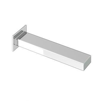 Abacus Plan Chrome Wall Mounted Bath Spout - TBTS-26-3802
