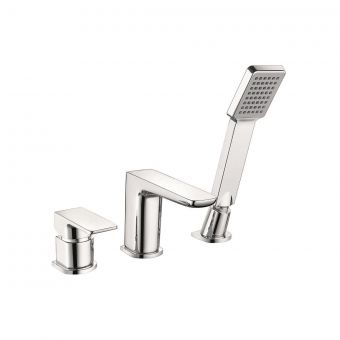 UK Bathrooms Essentials Stansfield 3 Hole Bath Mixer Tap with Shower Handset
