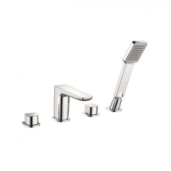 UK Bathrooms Essentials Stansfield 4 Hole Bath Mixer Tap with Shower Handset