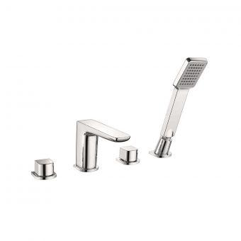 UK Bathrooms Essentials Stansfield 4 Hole Bath Mixer Tap with Shower Handset - UKBEST00124