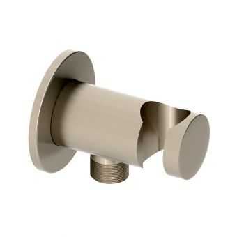 Abacus Emotion Brushed Nickel Round Wall Outlet and Holder