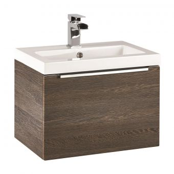 UK Bathrooms Essentials Kearsley 500mm Dark Oak Vanity Unit with Washbasin