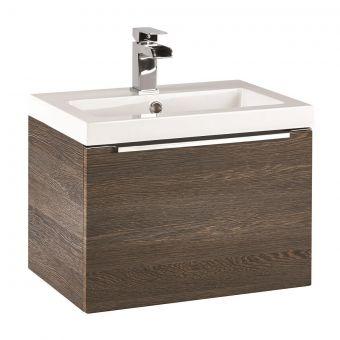 UK Bathrooms Essentials Kearsley 500mm Dark Oak Vanity Unit with Washbasin - UKBESSF0002
