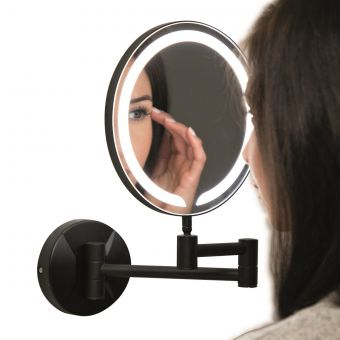 UK Bathrooms Essentials Cypress Black Round LED Make-Up Mirror