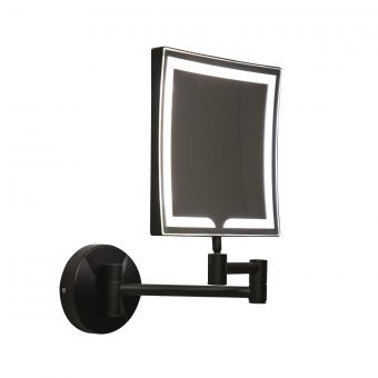 UK Bathrooms Essentials Cypress Black Square LED Make-Up Mirror