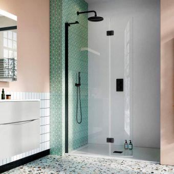 Crosswater Design 8 Matt Black Walk In Easy Access Shower