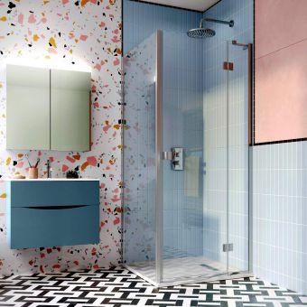 Crosswater Design 8 Hinged Shower Door with Inline Panel