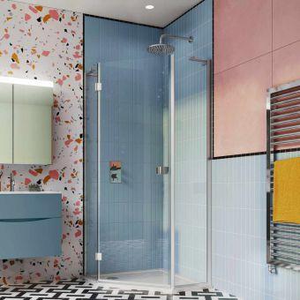Crosswater Design 8 Hinged Door Pentagon Shower Enclosure - DPTSC0900+