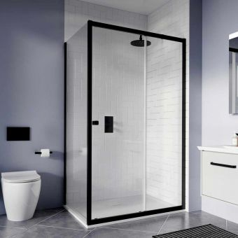 Crosswater Clear 6 Matt Black Sliding Shower Door
