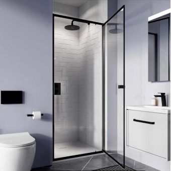 Crosswater Clear 6 Matt Black Pivot Shower Door