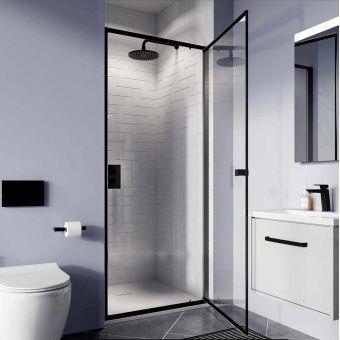 Crosswater Clear 6 Matt Black Pivot Shower Door - CAPDBC0900
