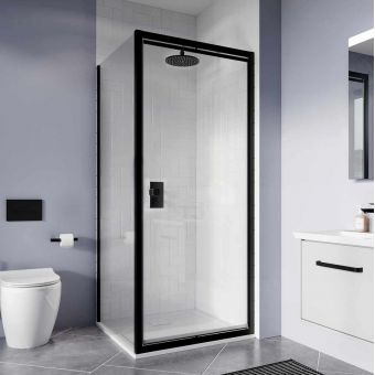 Crosswater Clear 6 Matt Black Infold Shower Door