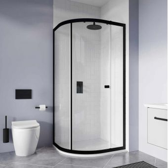 Crosswater Clear 6 Matt Black Single Door Quadrant Shower Enclosure