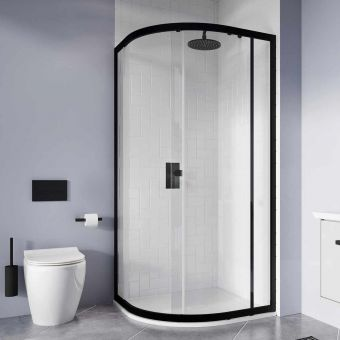 Crosswater Clear 6 Matt Black Offset Quadrant Shower Enclosure 1000 x 800