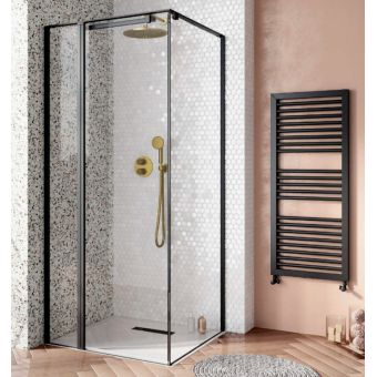 Crosswater Design 8 Matt Black Inline Hush Pivot Door with Side Panel and Tray