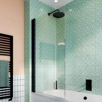 Crosswater Design 8 Matt Black Single Panel Bath Screen