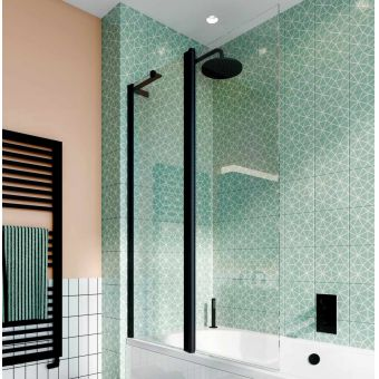 Crosswater Design 8 Matt Black Double Panel Bath Screen