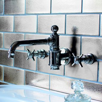 Arcade 3 Hole Wall Mounted Basin Mixer Tap