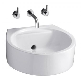 Ideal Standard Silver 3 Hole Wall Mounted Basin Mixer