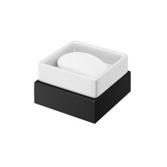 Abacus Pure Matt Black Soap Dish and Holder