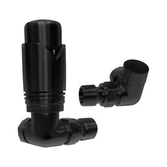 Abacus Ultima Matt Black Thermostatic Corner Valve